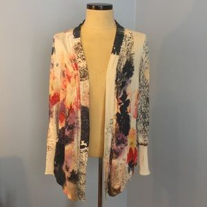 Nic + Zoe Large Cotton Cardigan Watercolor Floral